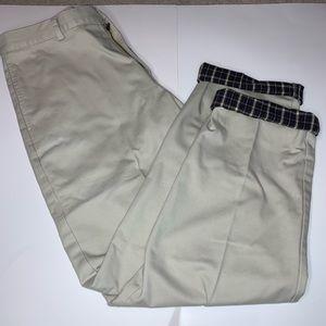 LL Bean Flannel Lined Khaki Chino Pants 34x34 EUC